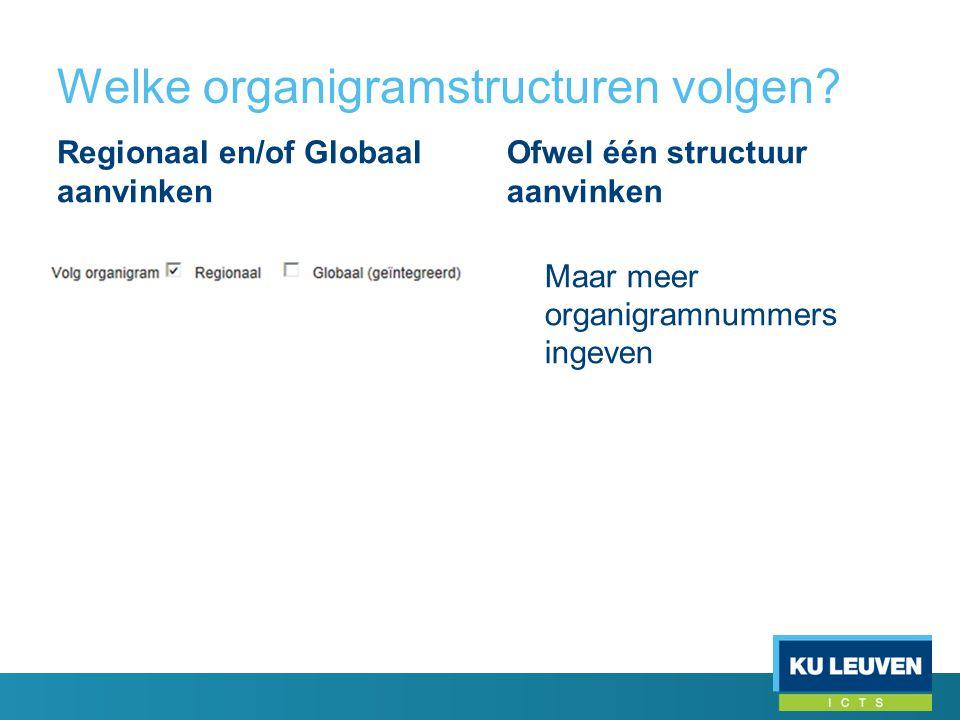Welke organigramstructuren volgen? Regionaal en/of Globaal aanvinken Ofwel één structuur aanvinken Maar meer organigramnummers ingeven