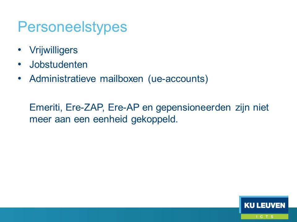 Personeelstypes • Vrijwilligers • Jobstudenten • Administratieve mailboxen (ue-accounts) Emeriti, Ere-ZAP, Ere-AP en gepensioneerden zijn niet meer aan een eenheid gekoppeld.