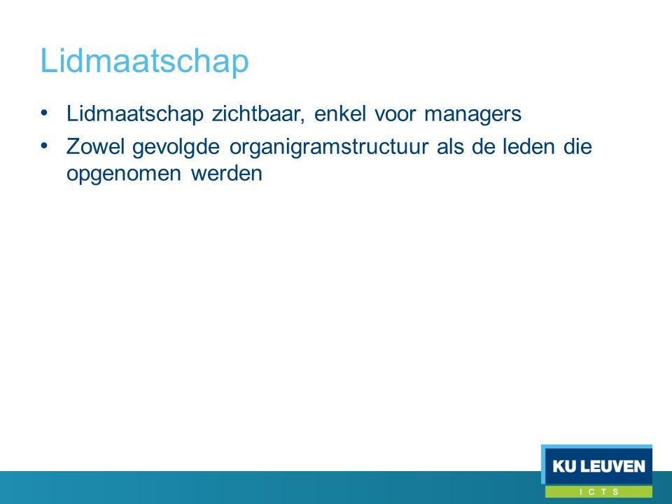 Lidmaatschap • Lidmaatschap zichtbaar, enkel voor managers • Zowel gevolgde organigramstructuur als de leden die opgenomen werden