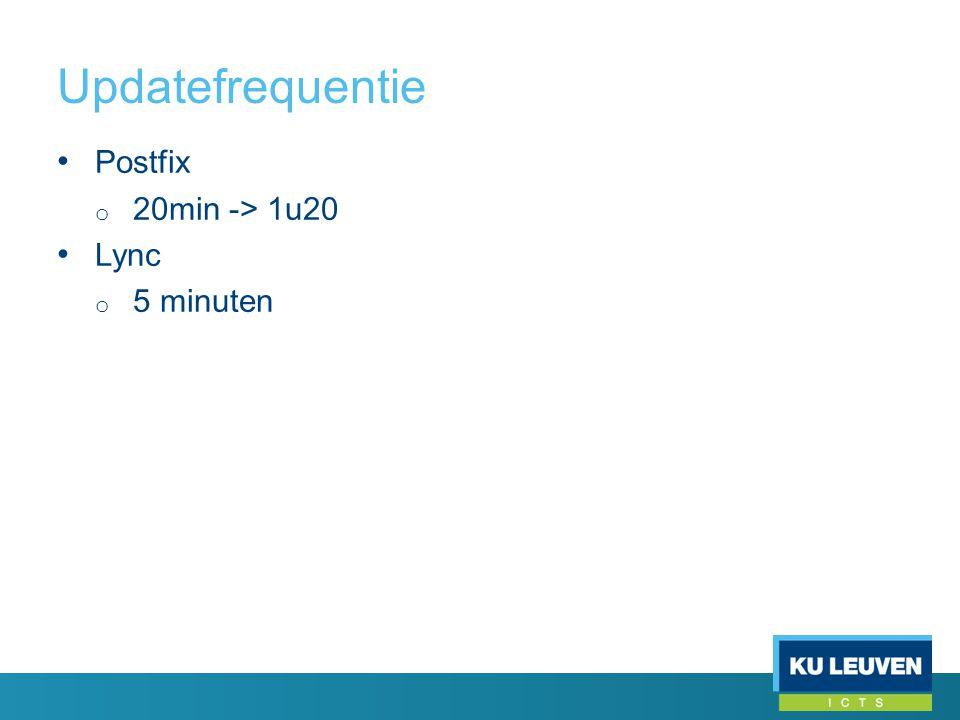 Updatefrequentie • Postfix o 20min -> 1u20 • Lync o 5 minuten