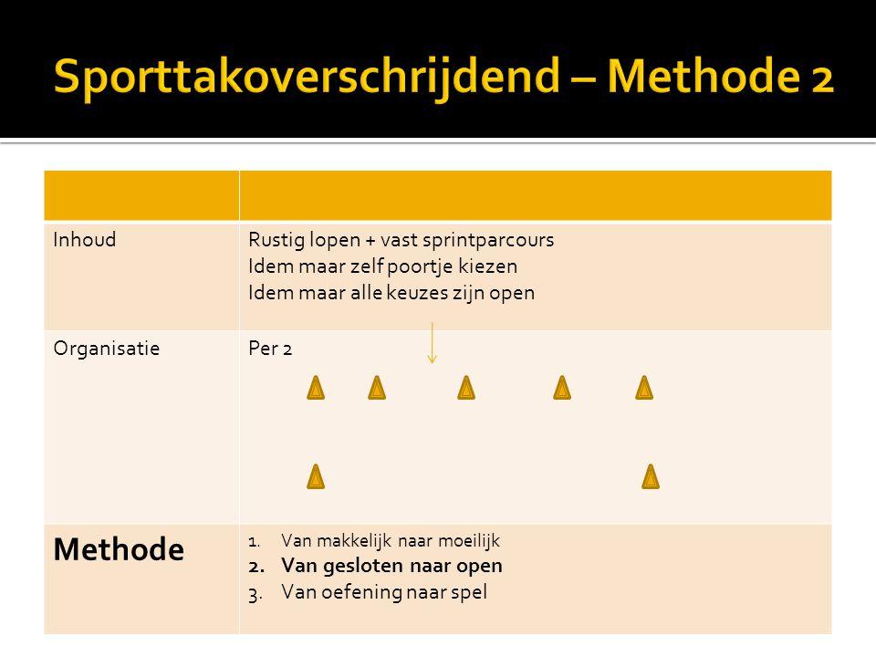 InhoudRustig lopen + vast sprintparcours Idem maar zelf poortje kiezen Idem maar alle keuzes zijn open OrganisatiePer 2 Methode 1.Van makkelijk naar m