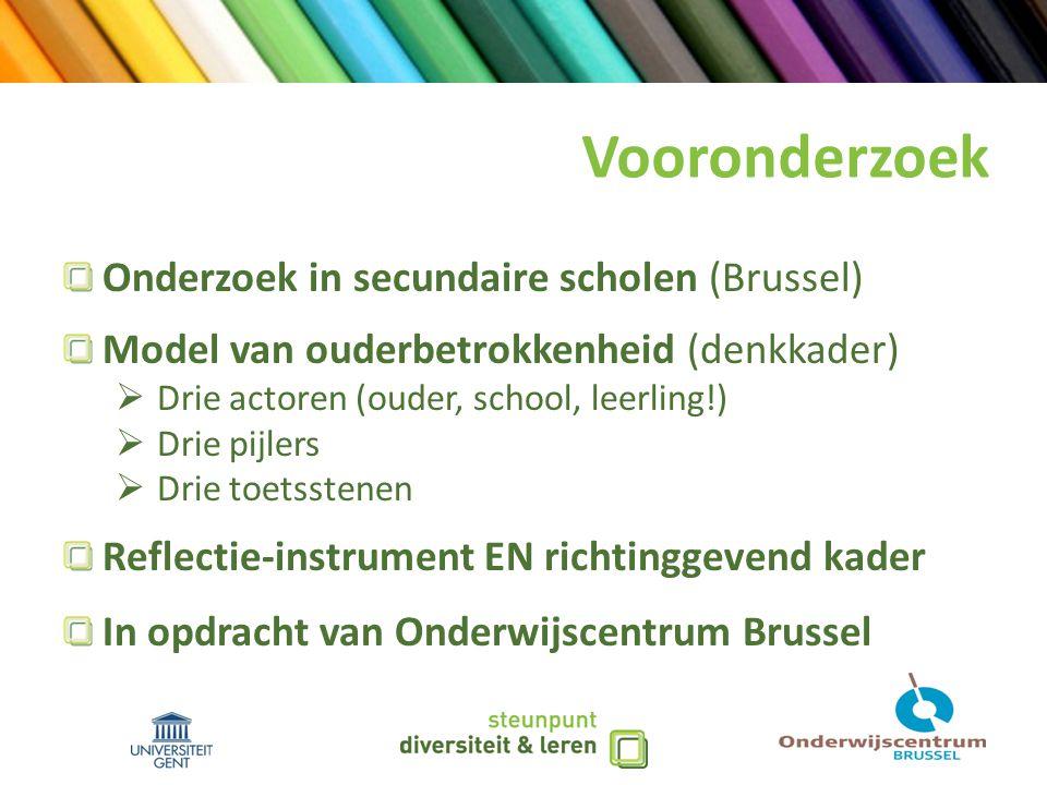 Vooronderzoek Onderzoek in secundaire scholen (Brussel) Model van ouderbetrokkenheid (denkkader)  Drie actoren (ouder, school, leerling!)  Drie pijlers  Drie toetsstenen Reflectie-instrument EN richtinggevend kader In opdracht van Onderwijscentrum Brussel