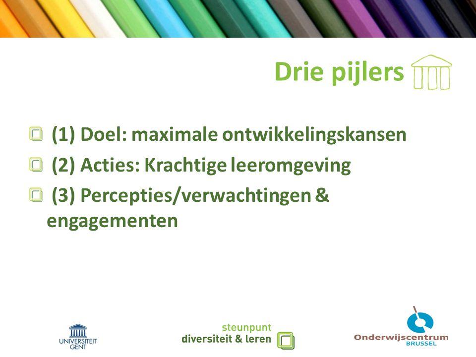 Drie pijlers (1) Doel: maximale ontwikkelingskansen (2) Acties: Krachtige leeromgeving (3) Percepties/verwachtingen & engagementen