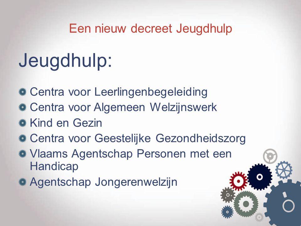 Een nieuw decreet Jeugdhulp Jeugdhulp: Centra voor Leerlingenbegeleiding Centra voor Algemeen Welzijnswerk Kind en Gezin Centra voor Geestelijke Gezon
