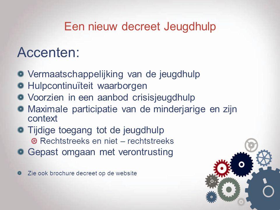 Een nieuw decreet Jeugdhulp Accenten: Vermaatschappelijking van de jeugdhulp Hulpcontinuïteit waarborgen Voorzien in een aanbod crisisjeugdhulp Maxima