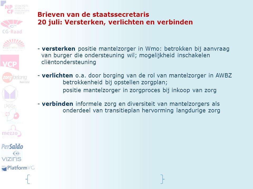 Brieven van de staatssecretaris 20 juli: Versterken, verlichten en verbinden - versterken positie mantelzorger in Wmo: betrokken bij aanvraag van burg