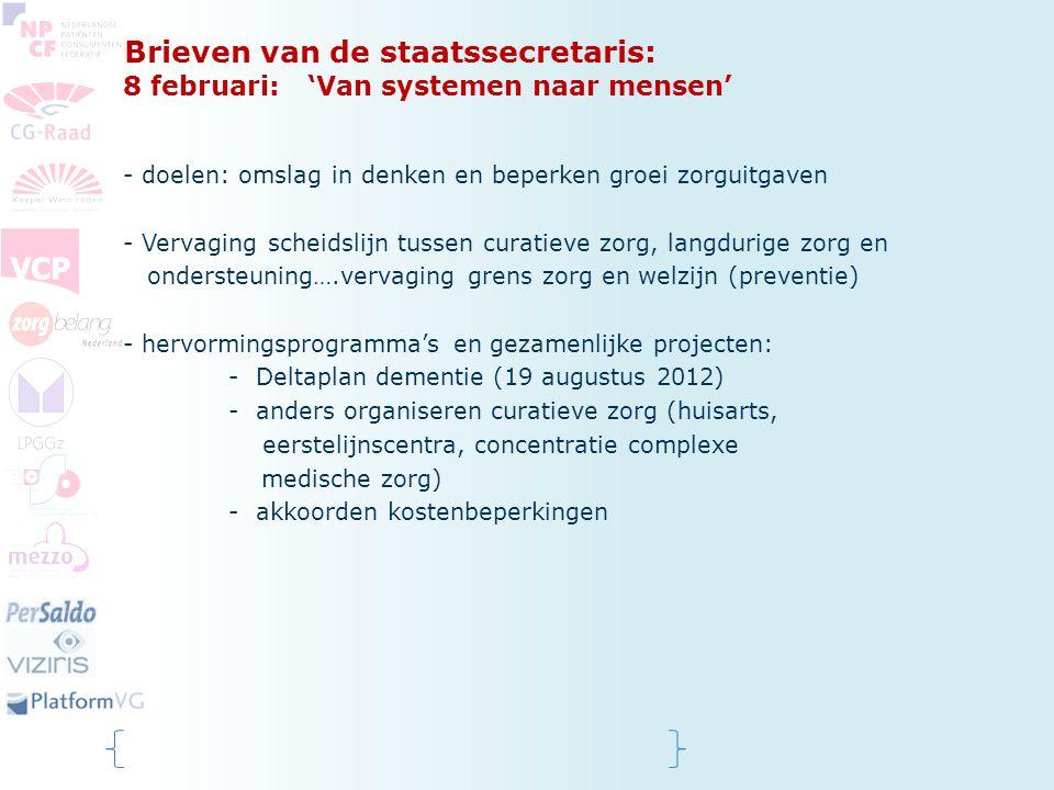 Brieven van de staatssecretaris: 8 februari: 'Van systemen naar mensen' - doelen: omslag in denken en beperken groei zorguitgaven - Vervaging scheidsl