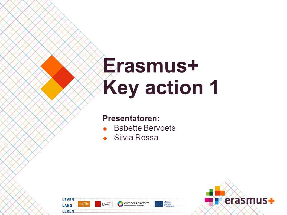 Presentatoren:  Babette Bervoets  Silvia Rossa Erasmus+ Key action 1