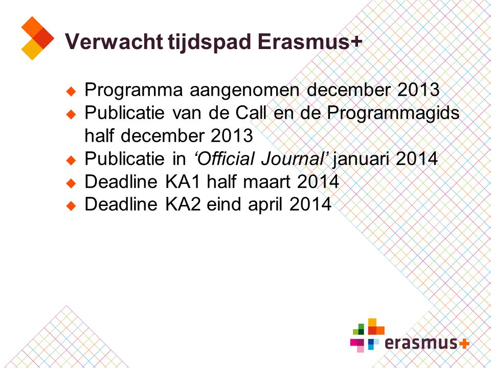 Verwacht tijdspad Erasmus+  Programma aangenomen december 2013  Publicatie van de Call en de Programmagids half december 2013  Publicatie in 'Offic