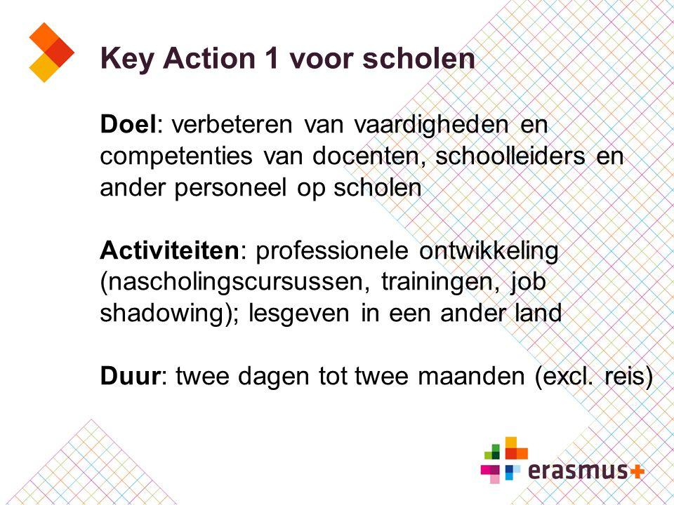 Key Action 1 voor scholen Doel: verbeteren van vaardigheden en competenties van docenten, schoolleiders en ander personeel op scholen Activiteiten: pr