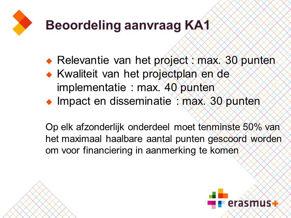 Beoordeling aanvraag KA1  Relevantie van het project : max. 30 punten  Kwaliteit van het projectplan en de implementatie : max. 40 punten  Impact e
