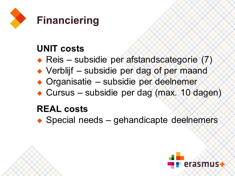Financiering UNIT costs  Reis – subsidie per afstandscategorie (7)  Verblijf – subsidie per dag of per maand  Organisatie – subsidie per deelnemer