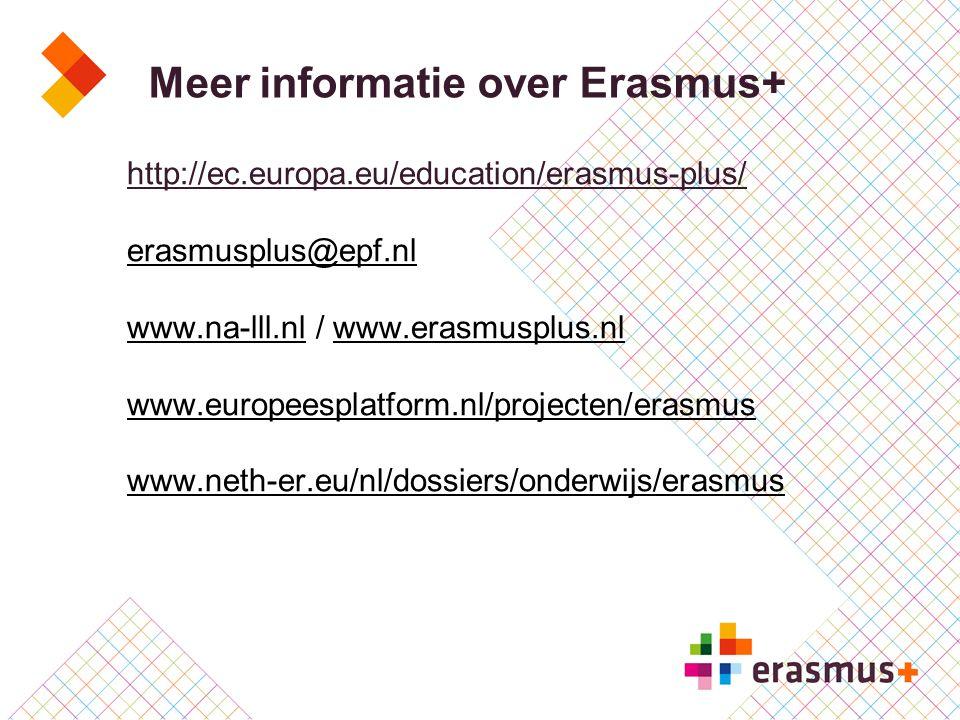 Meer informatie over Erasmus+ http://ec.europa.eu/education/erasmus-plus/ erasmusplus@epf.nl www.na-lll.nlwww.na-lll.nl / www.erasmusplus.nl www.europ