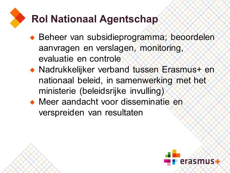  Beheer van subsidieprogramma; beoordelen aanvragen en verslagen, monitoring, evaluatie en controle  Nadrukkelijker verband tussen Erasmus+ en natio