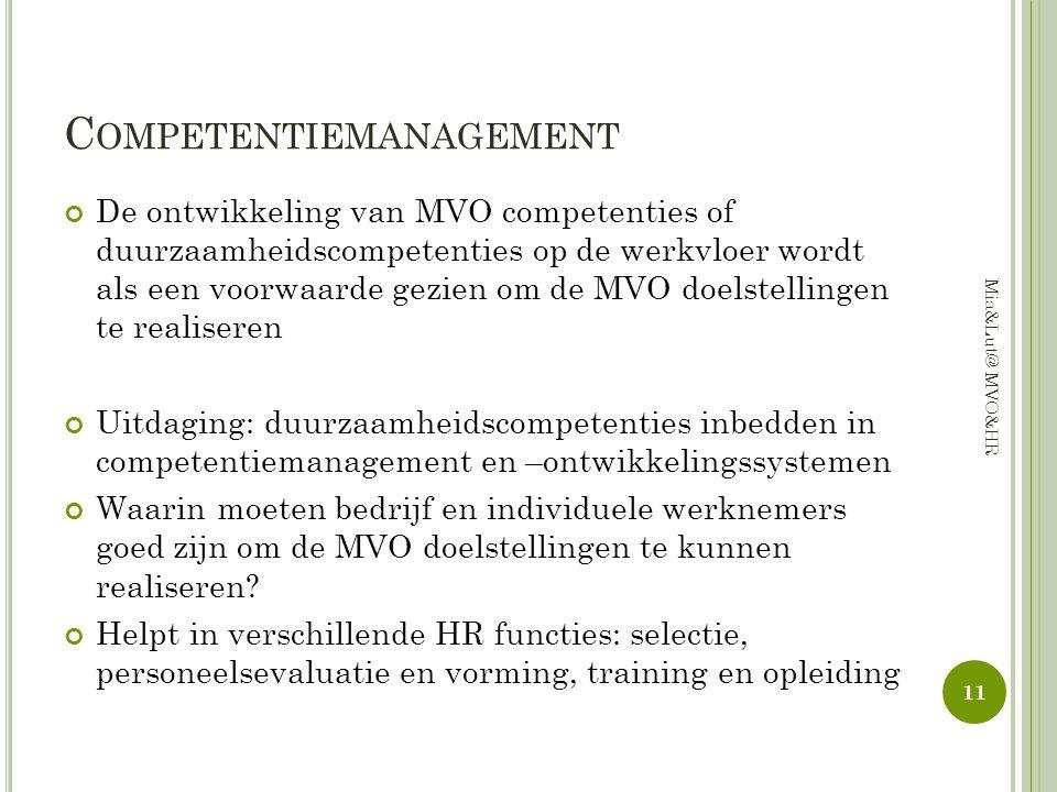 C OMPETENTIEMANAGEMENT De ontwikkeling van MVO competenties of duurzaamheidscompetenties op de werkvloer wordt als een voorwaarde gezien om de MVO doe