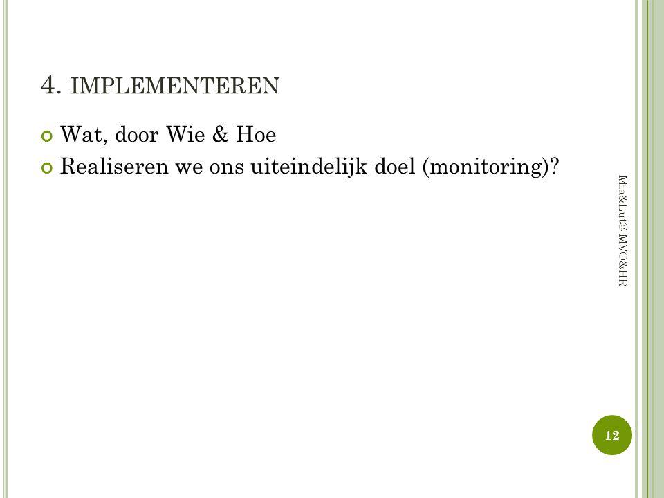 4. IMPLEMENTEREN Wat, door Wie & Hoe Realiseren we ons uiteindelijk doel (monitoring)? 12 Mia&Lut@ MVO&HR