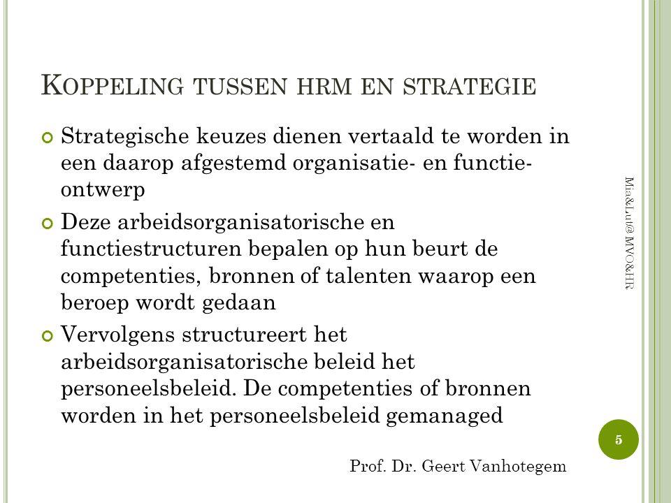 K OPPELING TUSSEN HRM EN STRATEGIE Strategische keuzes dienen vertaald te worden in een daarop afgestemd organisatie- en functie- ontwerp Deze arbeids