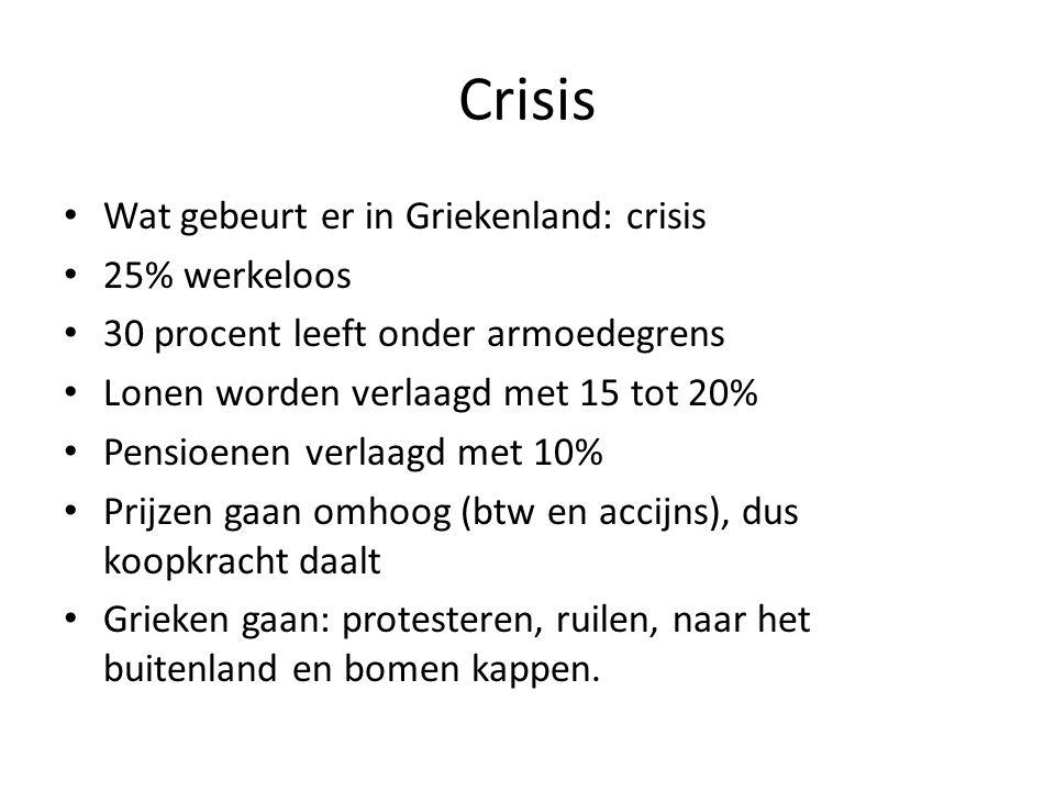 Crisis • Wat gebeurt er in Griekenland: crisis • 25% werkeloos • 30 procent leeft onder armoedegrens • Lonen worden verlaagd met 15 tot 20% • Pensioen