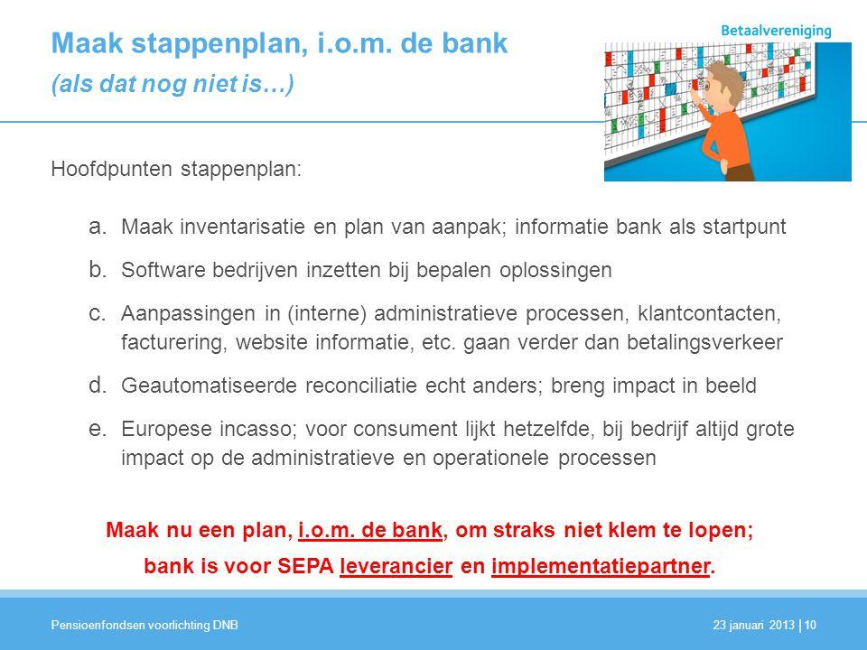 | Maak stappenplan, i.o.m. de bank (als dat nog niet is…) Hoofdpunten stappenplan: a. Maak inventarisatie en plan van aanpak; informatie bank als star