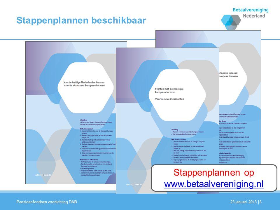 | Stappenplannen beschikbaar 23 januari 2013 Pensioenfondsen voorlichting DNB 6 Stappenplannen op www.betaalvereniging.nl
