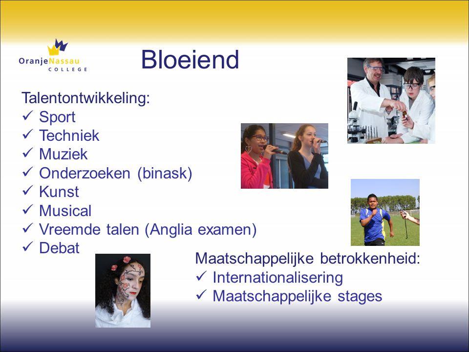 Bloeiend Talentontwikkeling:  Sport  Techniek  Muziek  Onderzoeken (binask)  Kunst  Musical  Vreemde talen (Anglia examen)  Debat Maatschappel