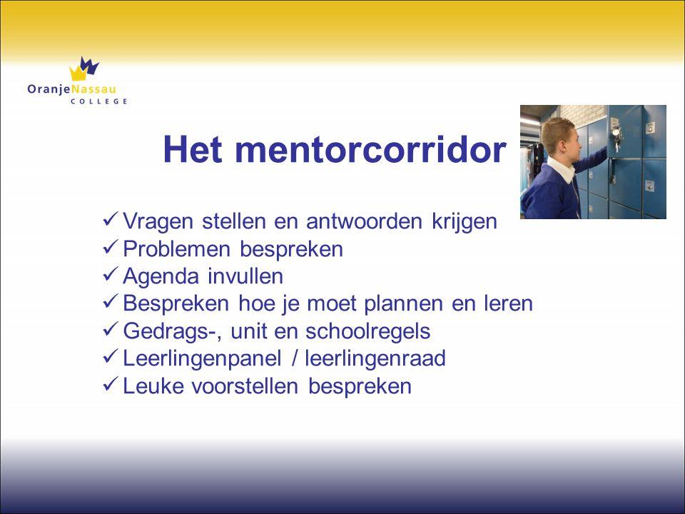 Het mentorcorridor  Vragen stellen en antwoorden krijgen  Problemen bespreken  Agenda invullen  Bespreken hoe je moet plannen en leren  Gedrags-,
