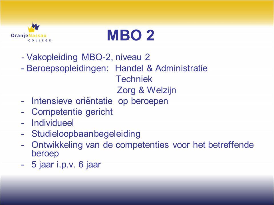 MBO 2 - Vakopleiding MBO-2, niveau 2 - Beroepsopleidingen: Handel & Administratie Techniek Zorg & Welzijn -Intensieve oriëntatie op beroepen -Competen