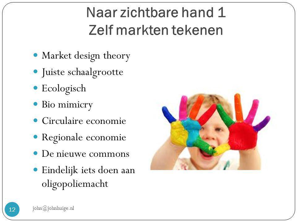 Naar zichtbare hand 1 Zelf markten tekenen john@johnhuige.nl 12  Market design theory  Juiste schaalgrootte  Ecologisch  Bio mimicry  Circulaire economie  Regionale economie  De nieuwe commons  Eindelijk iets doen aan oligopoliemacht