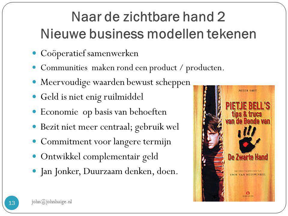 Naar de zichtbare hand 2 Nieuwe business modellen tekenen john@johnhuige.nl 13  Coöperatief samenwerken  Communities maken rond een product / producten.