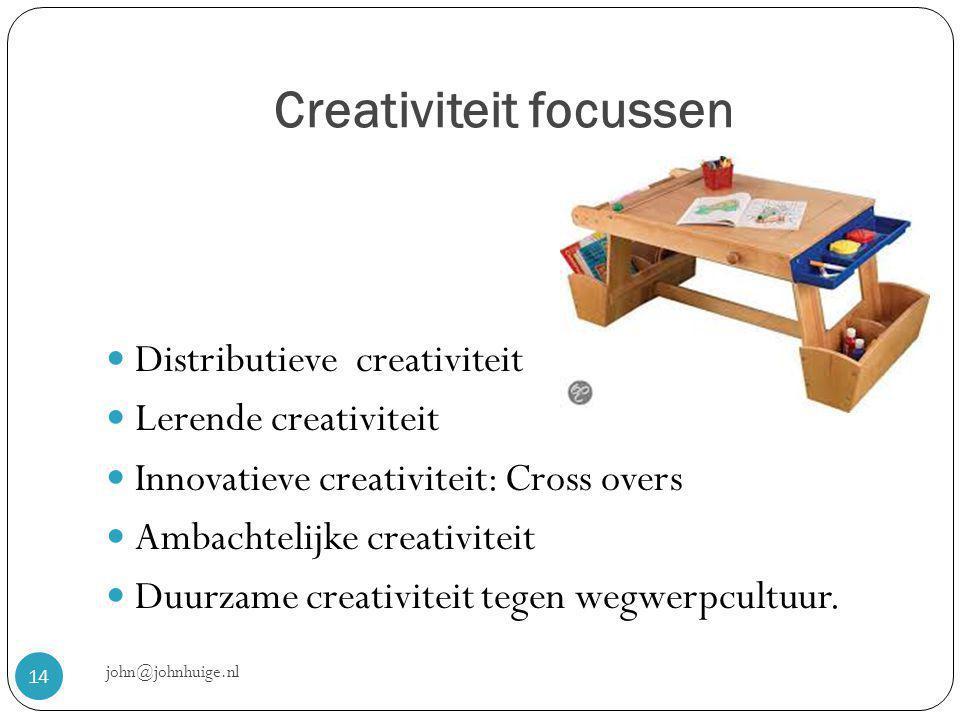 Creativiteit focussen john@johnhuige.nl 14  Distributieve creativiteit  Lerende creativiteit  Innovatieve creativiteit: Cross overs  Ambachtelijke creativiteit  Duurzame creativiteit tegen wegwerpcultuur.