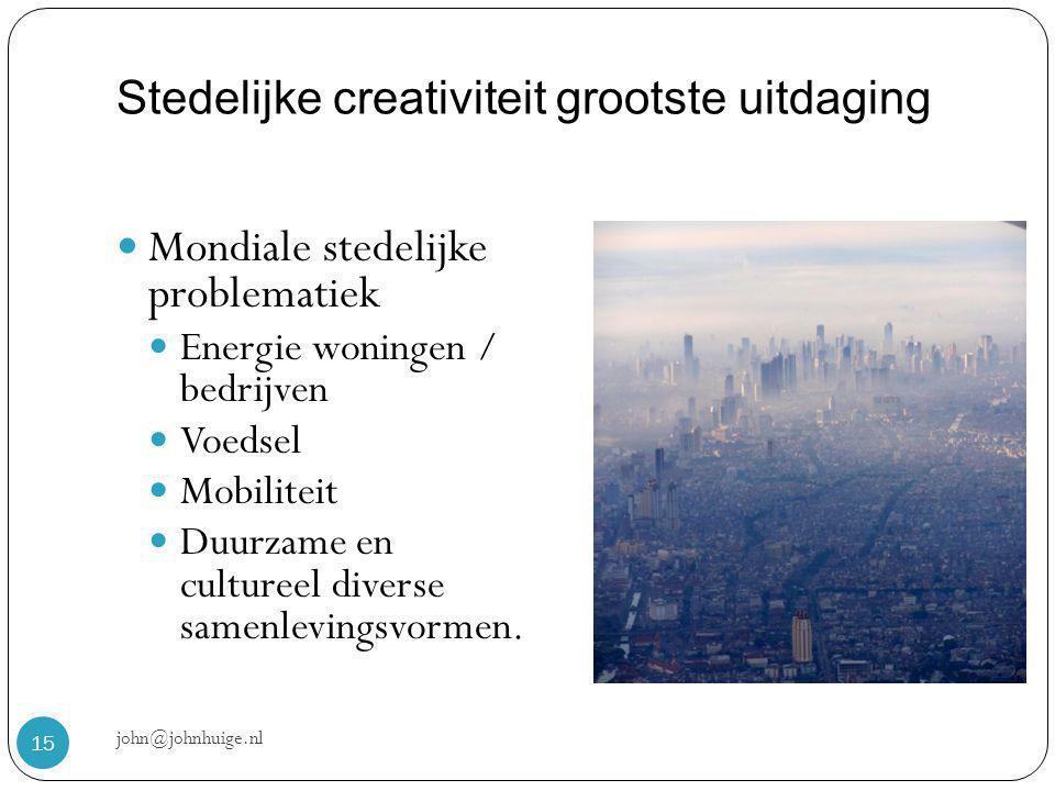 Stedelijke creativiteit grootste uitdaging john@johnhuige.nl 15  Mondiale stedelijke problematiek  Energie woningen / bedrijven  Voedsel  Mobiliteit  Duurzame en cultureel diverse samenlevingsvormen.