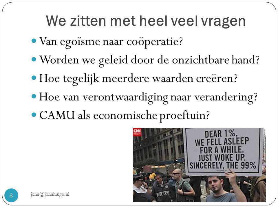 We zitten met heel veel vragen john@johnhuige.nl 3  Van egoïsme naar coöperatie.