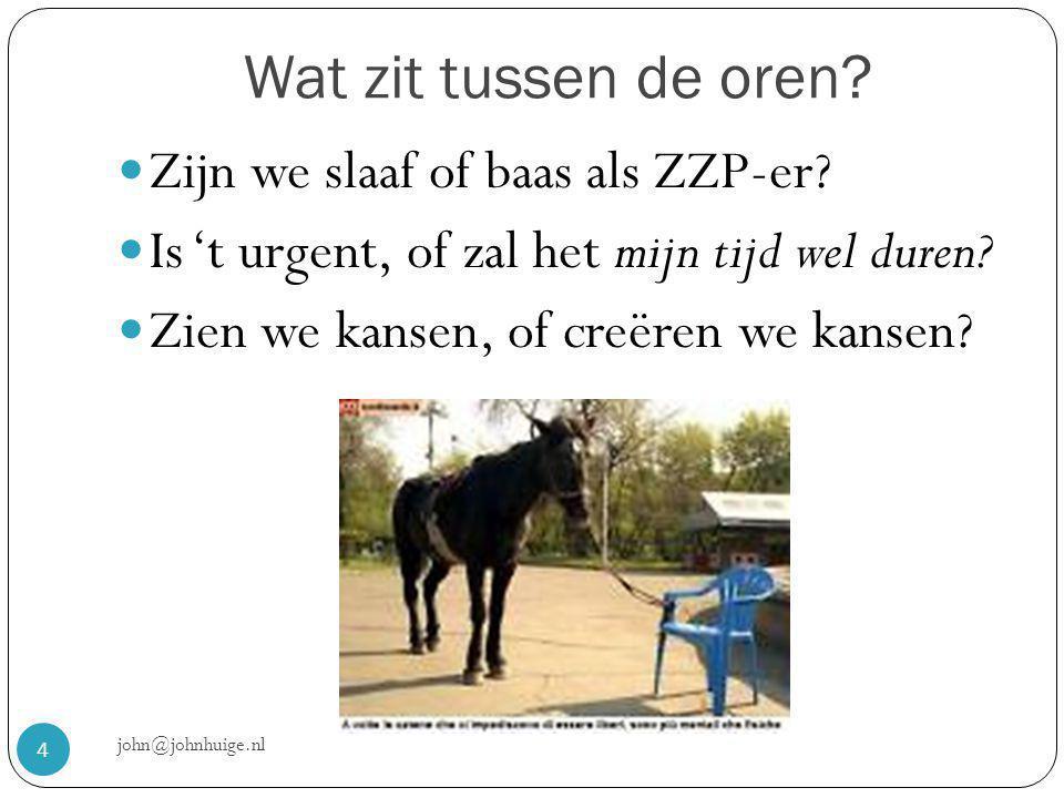 Wat zit tussen de oren. john@johnhuige.nl 4  Zijn we slaaf of baas als ZZP-er.