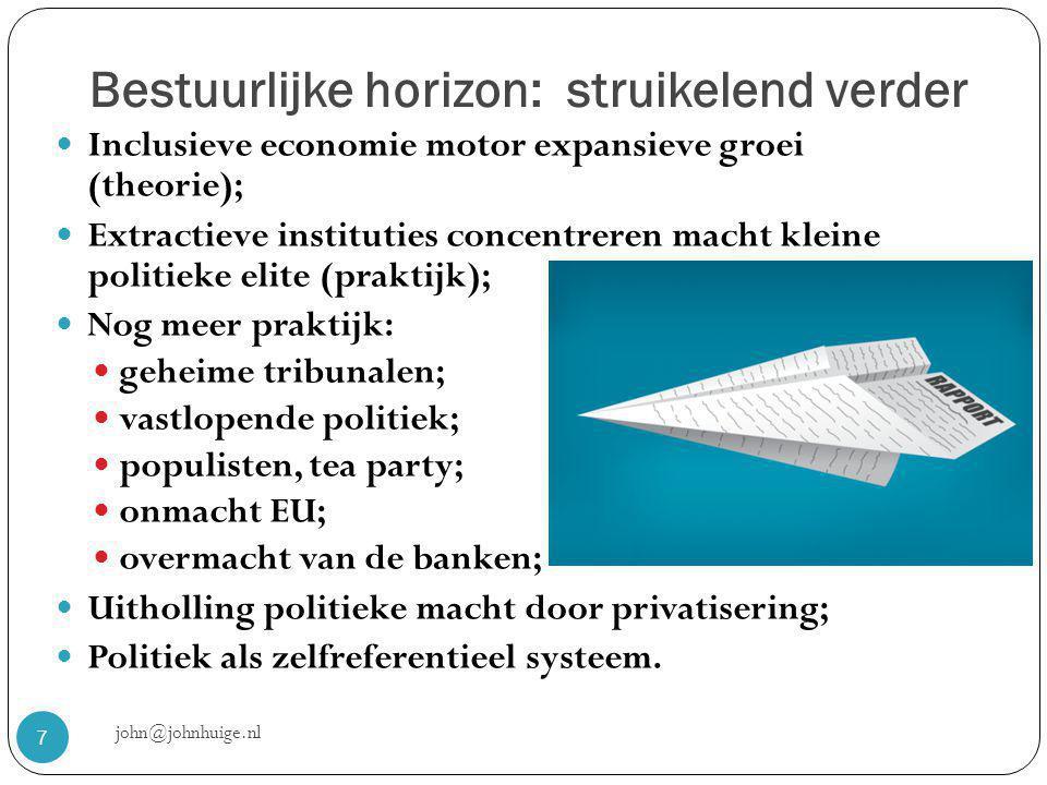 Bestuurlijke horizon: struikelend verder john@johnhuige.nl 7  Inclusieve economie motor expansieve groei (theorie);  Extractieve instituties concentreren macht kleine politieke elite (praktijk);  Nog meer praktijk:  geheime tribunalen;  vastlopende politiek;  populisten, tea party;  onmacht EU;  overmacht van de banken;  Uitholling politieke macht door privatisering;  Politiek als zelfreferentieel systeem.