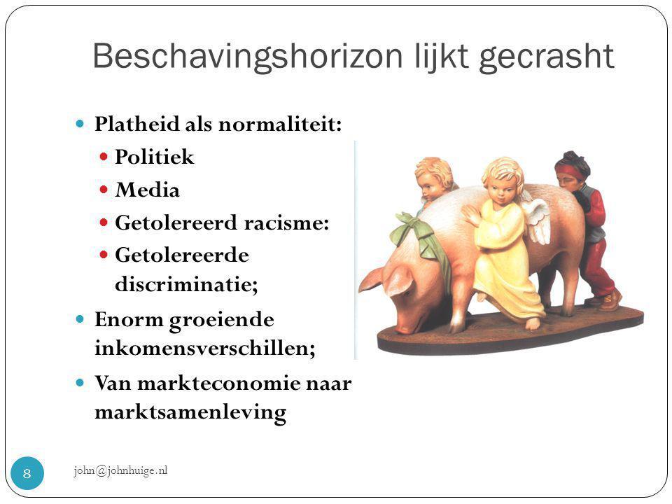 Beschavingshorizon lijkt gecrasht john@johnhuige.nl 8  Platheid als normaliteit:  Politiek  Media  Getolereerd racisme:  Getolereerde discriminatie;  Enorm groeiende inkomensverschillen;  Van markteconomie naar marktsamenleving