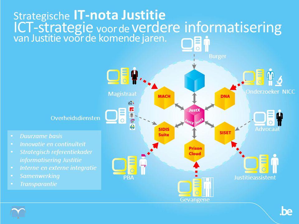 Strategische IT-nota Justitie ICT-strategie voor de verdere informatisering van Justitie voor de komende jaren.