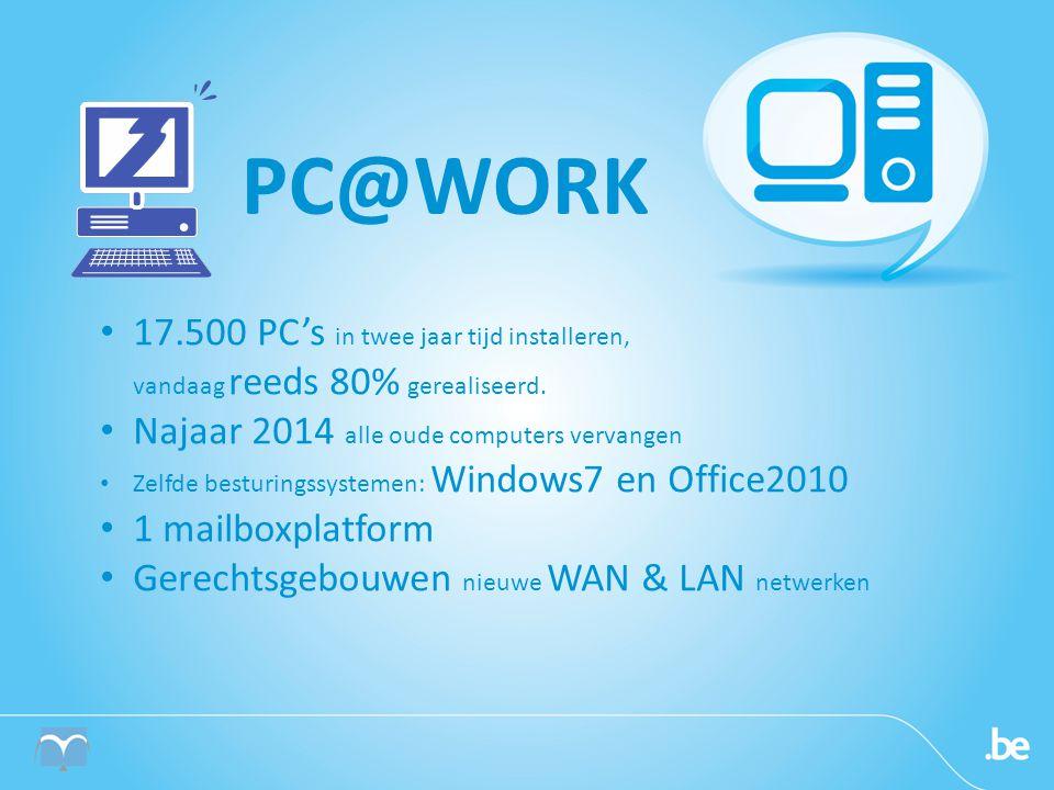 • 17.500 PC's in twee jaar tijd installeren, vandaag reeds 80% gerealiseerd.