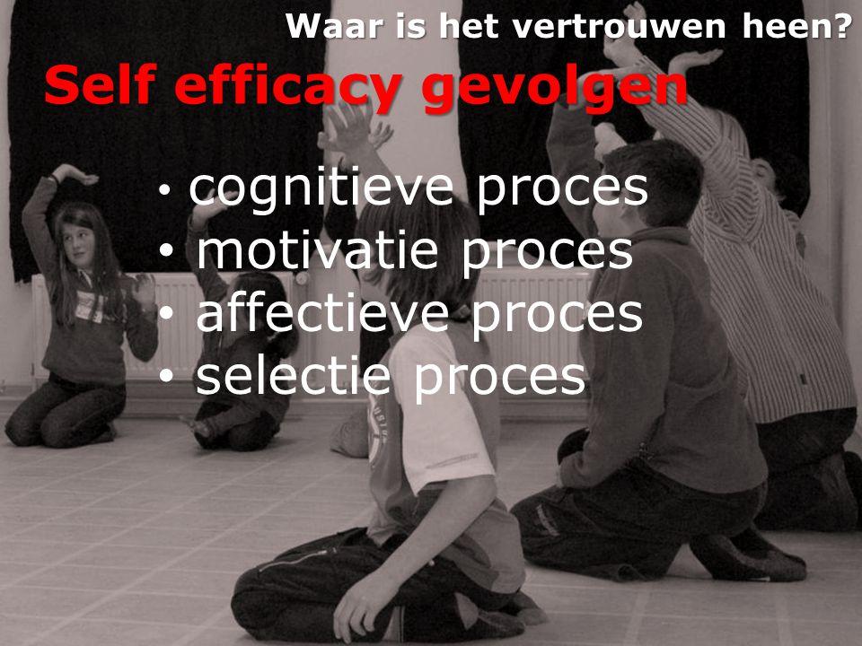 Self efficacy gevolgen • cognitieve proces • motivatie proces • affectieve proces • selectie proces