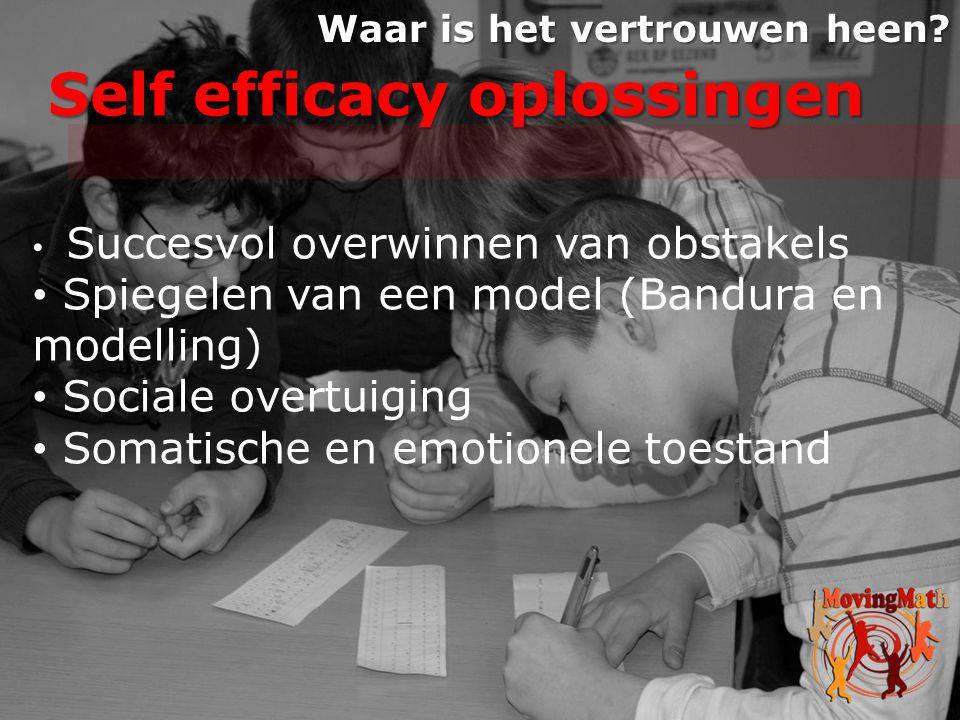 Self efficacy oplossingen Waar is het vertrouwen heen? • Succesvol overwinnen van obstakels • Spiegelen van een model (Bandura en modelling) • Sociale