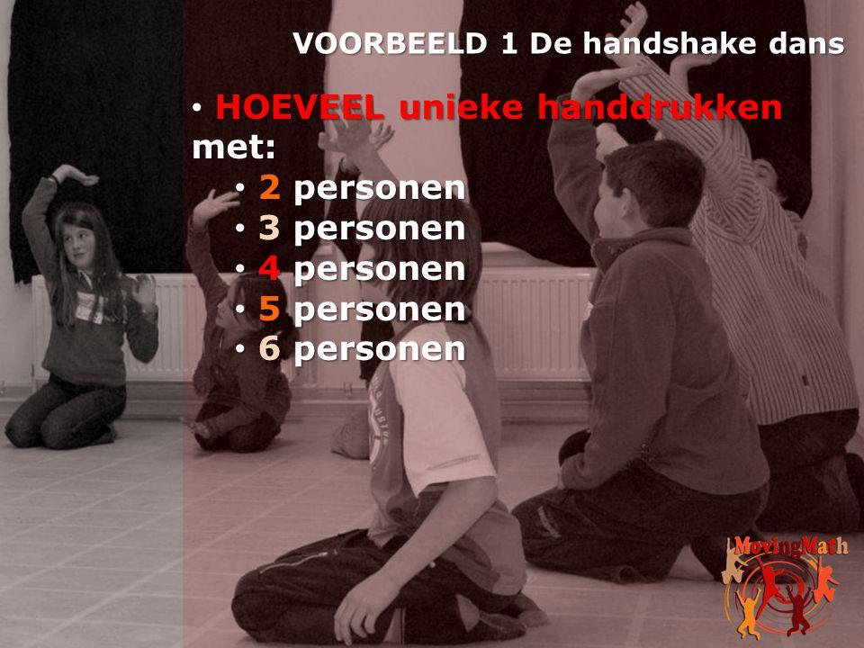 • HOEVEEL unieke handdrukken met: • 2 personen • 3 personen • 4 personen • 5 personen • 6 personen VOORBEELD 1 De handshake dans