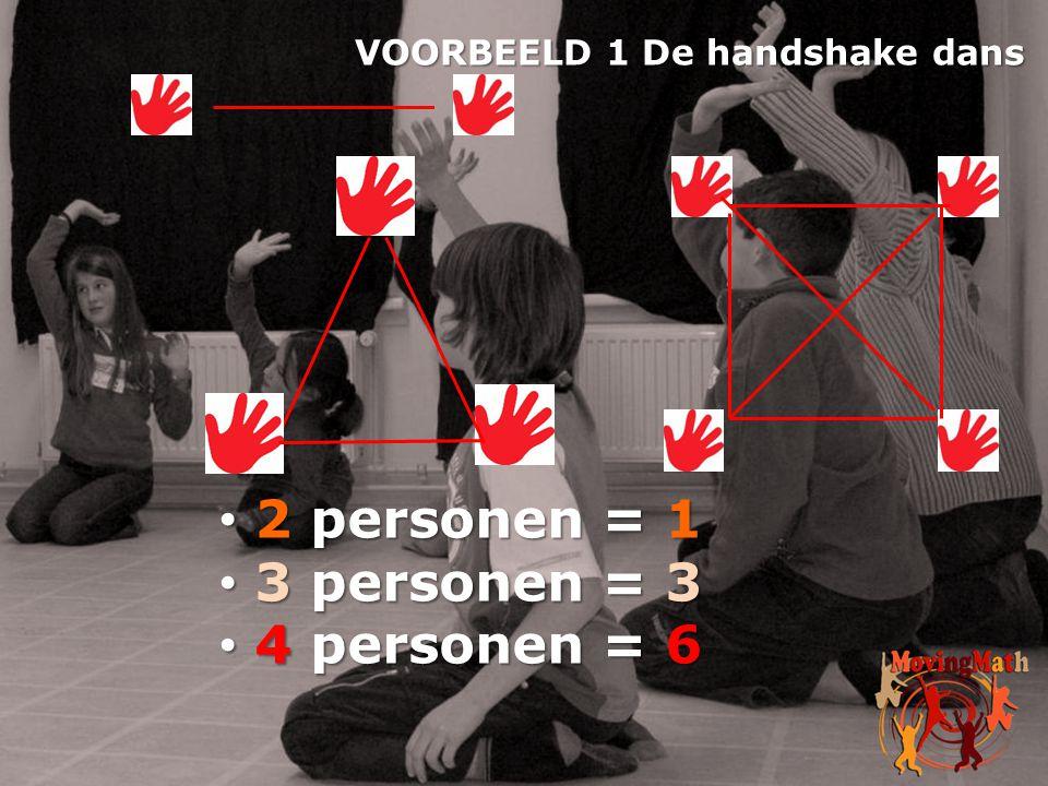 • 2 personen = 1 • 3 personen = 3 • 4 personen = 6 VOORBEELD 1 De handshake dans