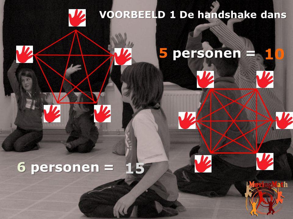5 personen = 6 personen = VOORBEELD 1 De handshake dans 10 15