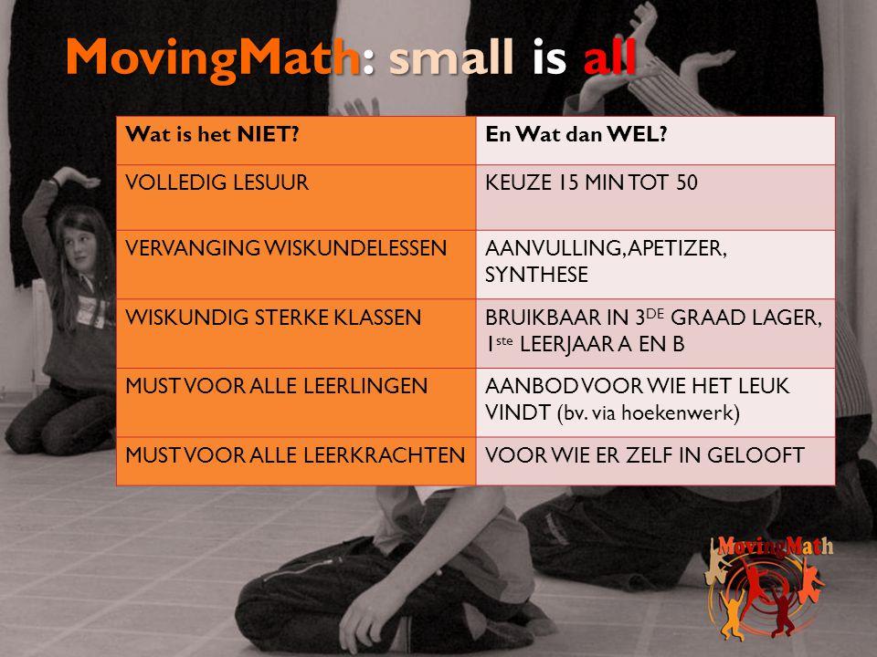 MovingMath: small is all Wat is het NIET?En Wat dan WEL? VOLLEDIG LESUURKEUZE 15 MIN TOT 50 VERVANGING WISKUNDELESSENAANVULLING, APETIZER, SYNTHESE WI