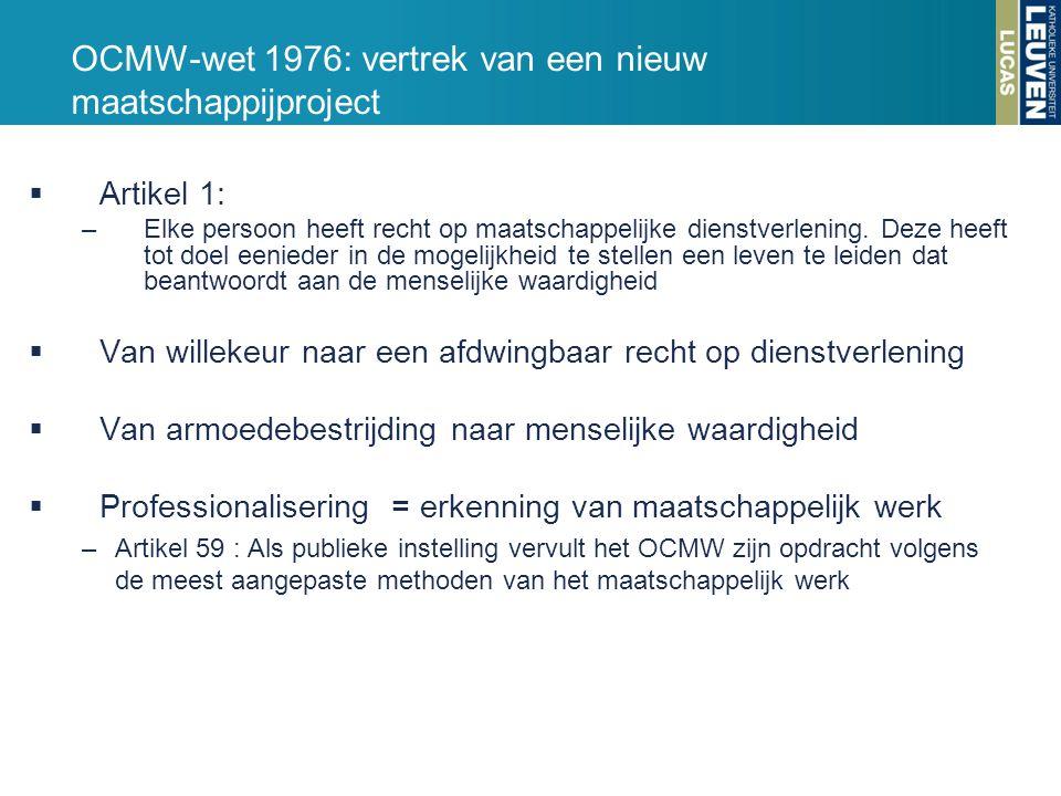OCMW-wet 1976: vertrek van een nieuw maatschappijproject  Artikel 1: –Elke persoon heeft recht op maatschappelijke dienstverlening. Deze heeft tot do