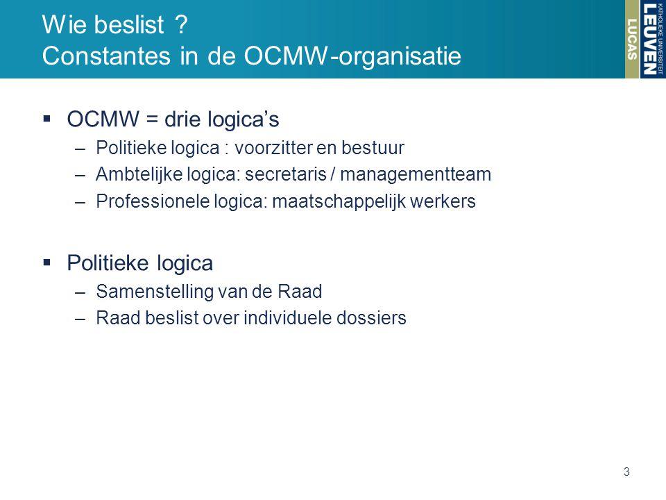  OCMW = drie logica's –Politieke logica : voorzitter en bestuur –Ambtelijke logica: secretaris / managementteam –Professionele logica: maatschappelij