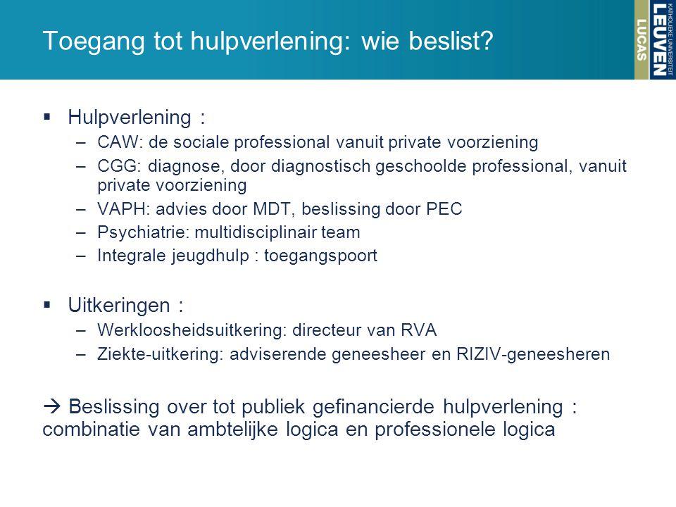Toegang tot hulpverlening: wie beslist?  Hulpverlening : –CAW: de sociale professional vanuit private voorziening –CGG: diagnose, door diagnostisch g