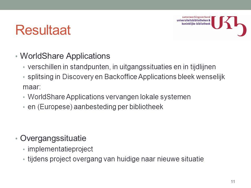 Resultaat • WorldShare Applications • verschillen in standpunten, in uitgangssituaties en in tijdlijnen • splitsing in Discovery en Backoffice Applica