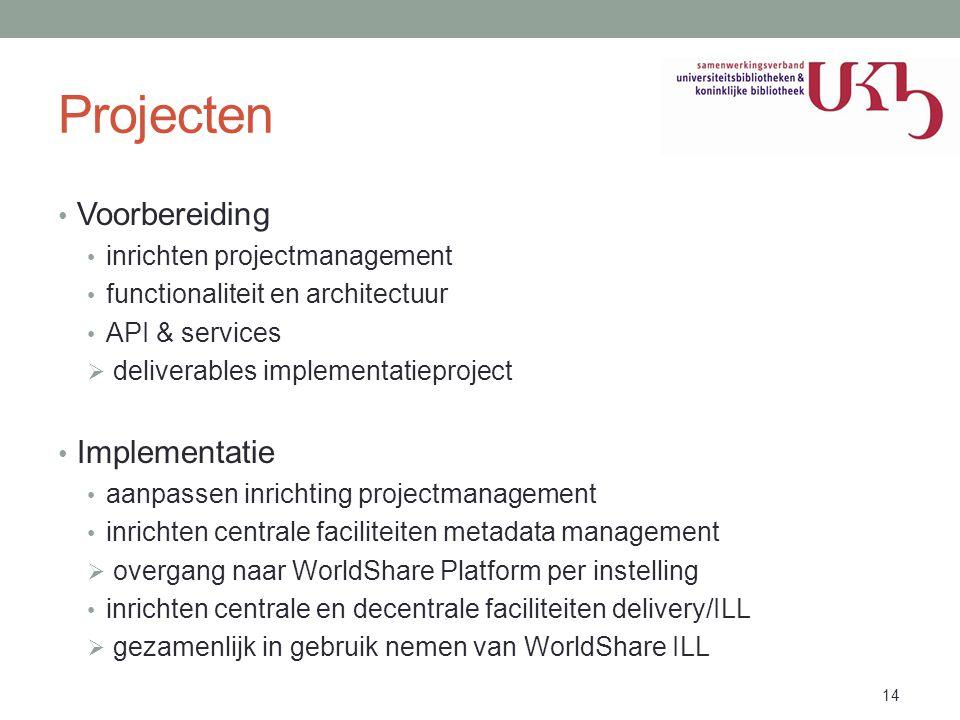 Projecten • Voorbereiding • inrichten projectmanagement • functionaliteit en architectuur • API & services  deliverables implementatieproject • Imple