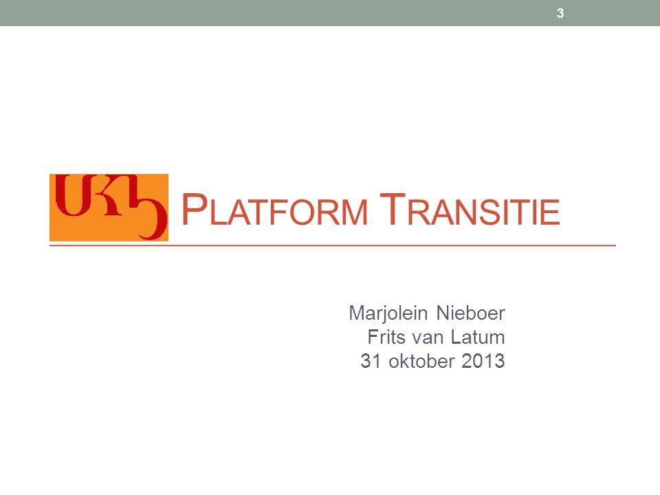 Platform transitie Onderwerpen: • UKB Strategie • Uitgangspunten & Bouwstenen • Voorstel OCLC • Proces • Resultaat • Implementatie 431 oktober 2013