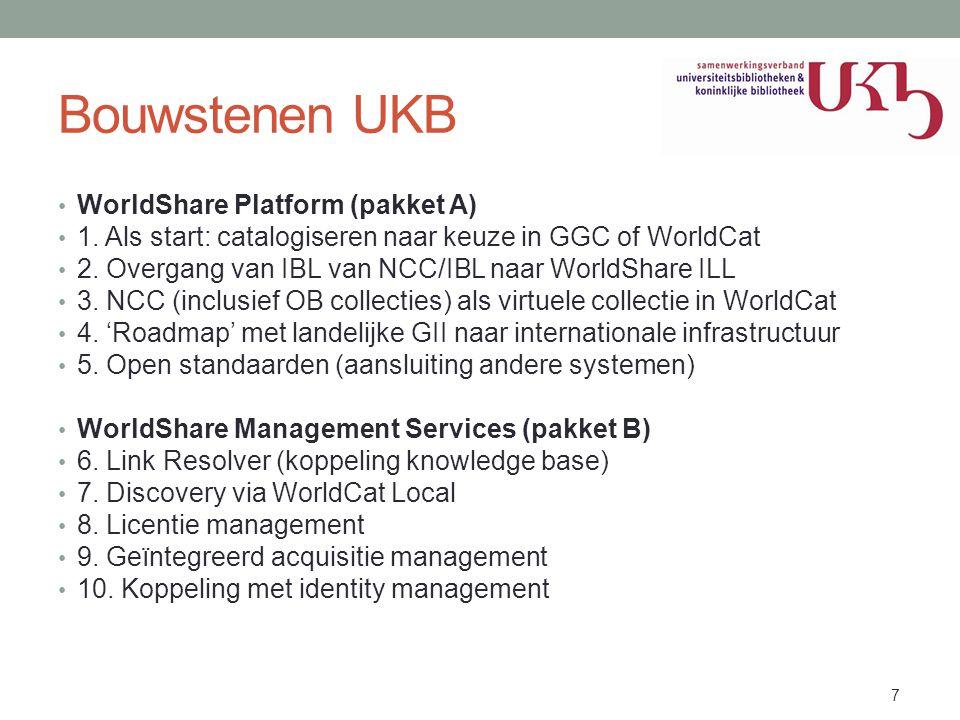 Bouwstenen UKB • WorldShare Platform (pakket A) • 1. Als start: catalogiseren naar keuze in GGC of WorldCat • 2. Overgang van IBL van NCC/IBL naar Wor